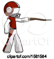 White Football Player Man Pointing With Hiking Stick