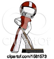 White Football Player Man Cleaning Services Janitor Sweeping Floor With Push Broom