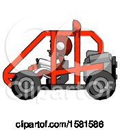 White Football Player Man Riding Sports Buggy Side View