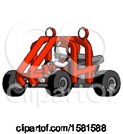 White Football Player Man Riding Sports Buggy Side Angle View