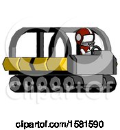 White Football Player Man Driving Amphibious Tracked Vehicle Side Angle View