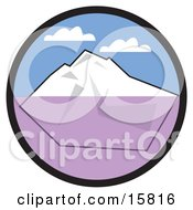 Big White Iceberg Floating In Cold Waters Under A Blue Sky With Puffy White Clouds Clipart Illustration