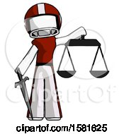 White Football Player Man Justice Concept With Scales And Sword Justicia Derived