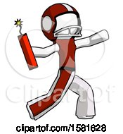 White Football Player Man Throwing Dynamite