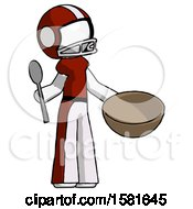 White Football Player Man With Empty Bowl And Spoon Ready To Make Something