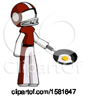White Football Player Man Frying Egg In Pan Or Wok Facing Right