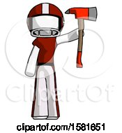 White Football Player Man Holding Up Red Firefighters Ax