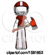 White Football Player Man Holding Red Fire Fighters Ax
