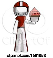 White Football Player Man Presenting Pink Cupcake To Viewer