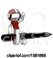 White Football Player Man Riding A Pen Like A Giant Rocket