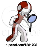 White Football Player Man Inspecting With Large Magnifying Glass Right