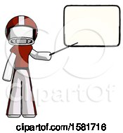 White Football Player Man Giving Presentation In Front Of Dry Erase Board