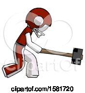 White Football Player Man Hitting With Sledgehammer Or Smashing Something