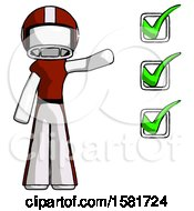 White Football Player Man Standing By List Of Checkmarks