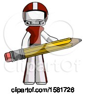 White Football Player Man Writer Or Blogger Holding Large Pencil