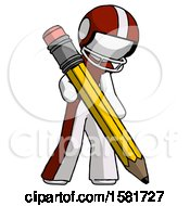 White Football Player Man Writing With Large Pencil
