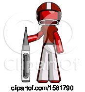 Red Football Player Man Standing With Large Thermometer