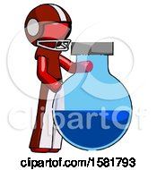 Red Football Player Man Standing Beside Large Round Flask Or Beaker