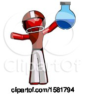 Red Football Player Man Holding Large Round Flask Or Beaker