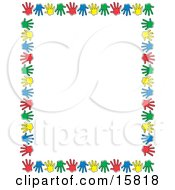 Border Of Colorful Hand Prints Over White