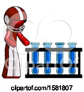Red Football Player Man Using Test Tubes Or Vials On Rack