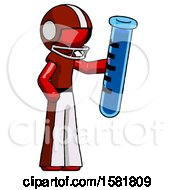 Red Football Player Man Holding Large Test Tube