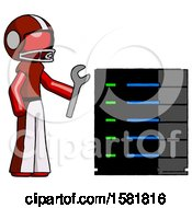 Red Football Player Man Server Administrator Doing Repairs