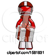 Red Football Player Man Gifting Present With Large Bow Front View