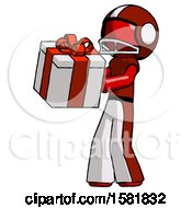 Red Football Player Man Presenting A Present With Large Red Bow On It