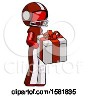 Red Football Player Man Giving A Present