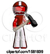 Red Football Player Man Holding Hammer Ready To Work