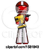 Red Football Player Man Holding Large Drill