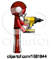 Red Football Player Man Using Drill Drilling Something On Right Side
