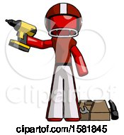 Red Football Player Man Holding Drill Ready To Work Toolchest And Tools To Right