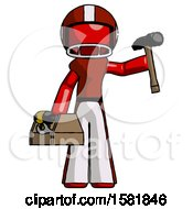 Red Football Player Man Holding Tools And Toolchest Ready To Work