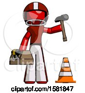 Red Football Player Man Under Construction Concept Traffic Cone And Tools