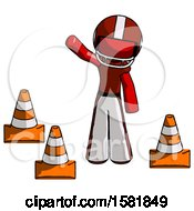 Red Football Player Man Standing By Traffic Cones Waving