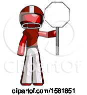 Red Football Player Man Holding Stop Sign