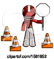 Red Football Player Man Holding Stop Sign By Traffic Cones Under Construction Concept