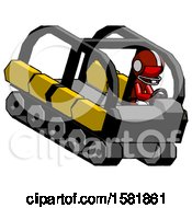 Red Football Player Man Driving Amphibious Tracked Vehicle Top Angle View