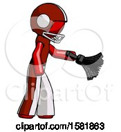 Red Football Player Man Dusting With Feather Duster Downwards