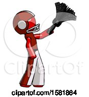 Red Football Player Man Dusting With Feather Duster Upwards