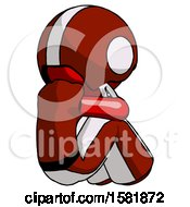 Red Football Player Man Sitting With Head Down Back View Facing Right