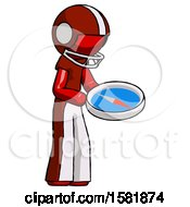 Red Football Player Man Looking At Large Compass Facing Right