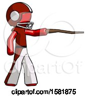 Red Football Player Man Pointing With Hiking Stick