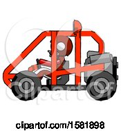 Red Football Player Man Riding Sports Buggy Side View