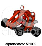 Red Football Player Man Riding Sports Buggy Side Top Angle View