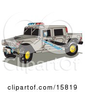 Big Gray Police Patrol Hummer H2 Vehicle With A Truck Bed And Lights On Top Clipart Illustration by Andy Nortnik
