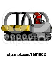 Red Football Player Man Driving Amphibious Tracked Vehicle Side Angle View