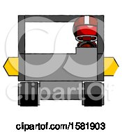 Red Football Player Man Driving Amphibious Tracked Vehicle Front View